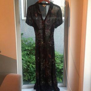 Wilfred sheer button-up dress w/romper slip